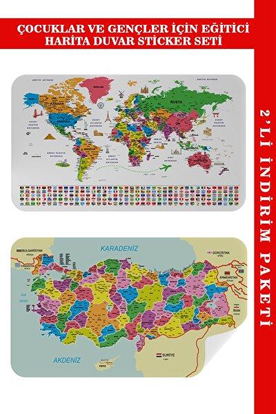 Eğitici - Öğretici Dünya Ve Türkiye Haritası Çocuk Odası Duvar Sticker I 3885