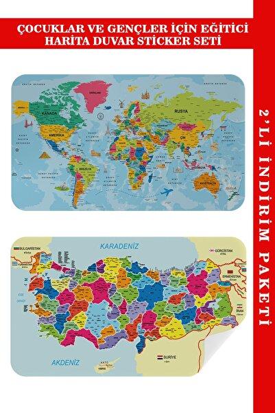Eğitici Ve Öğretici Dünya Ve Türkiye Haritası Çocuk Odası Duvar Sticker 3882
