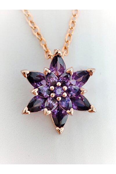 Kadın 925 Ayar Gümüş Taşlı Rose Gold Kristal Taşlı Mor Lotus Çiçeği Kolye