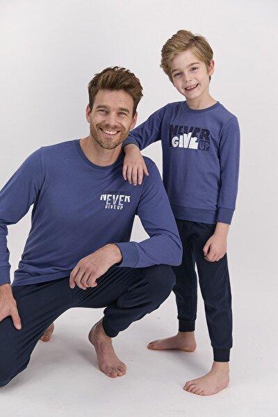 Erkek Uzun Kol Yazı Baskılı Pijama Takımı (baba Oğul Kombin Yapılabilir Fiyatları Farklıdır)