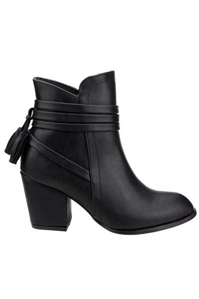 0322 Siyah 8 Cm Topuk Bayan Bot Cilt Ayakkabı