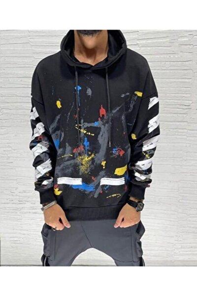 Kapüşonlu Baskılı Normal Kalıp Siyah Sweatshirt K074