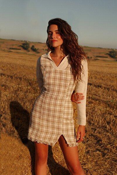 Tüvit Mini Elbise Bej