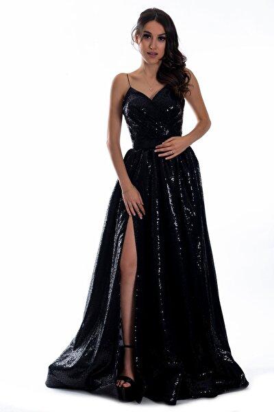 Kadın Siyah Pulpayet Uzun Abiye Elbise
