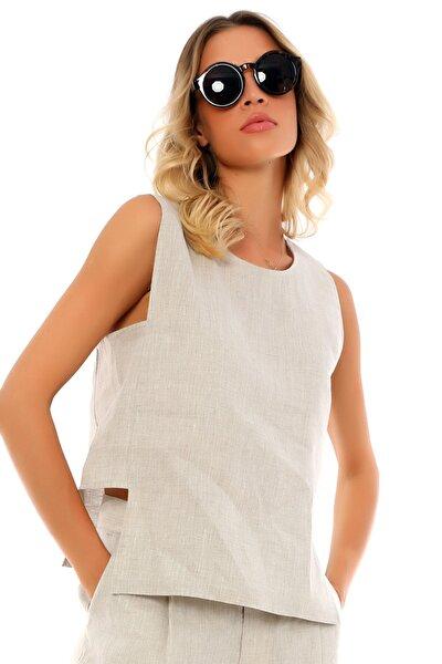 Özel Tasarım Kolsuz Yuvarlak Yaka Yandan Bantlı Rahat Keten Bluz