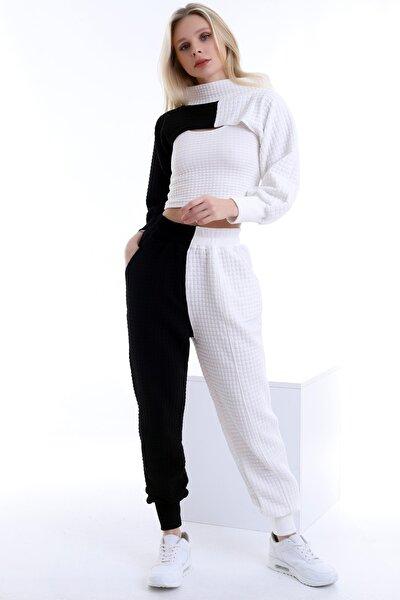 Özel Tasarım Çift Renkli Bluz Bolero Pantolon Üçlü Kapitone Takım