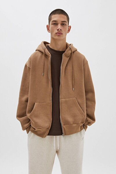 Kapüşonlu Fermuarlı Basic Sweatshirt