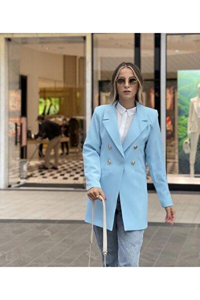 Açık Mavi Blazer Ceket