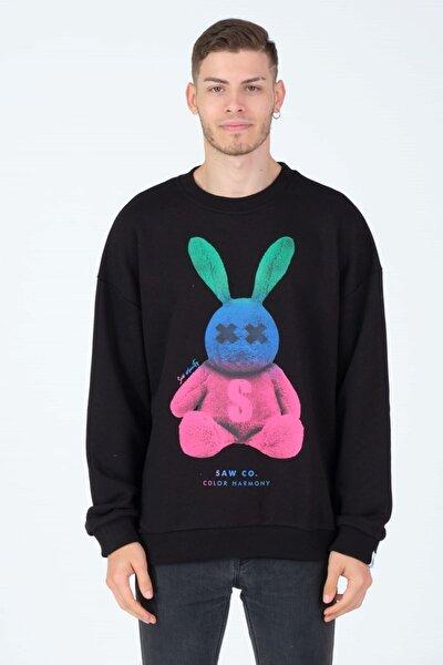 Tavşan Figür Baskılı Oversize Sweatshirt