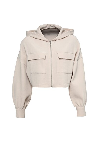 Kapüşonlu Ceket Bej