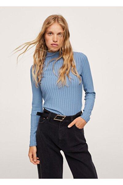 Kadın Gök Mavisi Uzun Kollu Fitilli Tişört