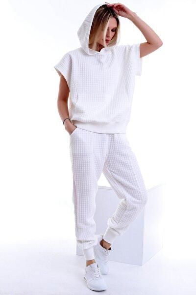Kapüşonlu Cepli Kısa Kol Sweat Cepli Bel Büzgülü Pantolon Takım