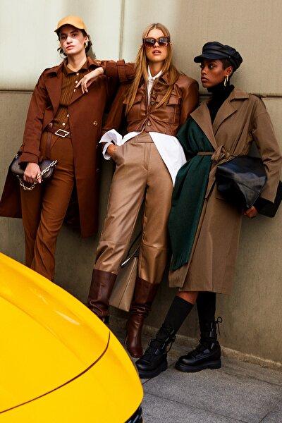 Camel Suni Deri Pantolon TWOAW22PL0218