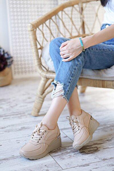 Esvora Nude Mat Deri Dolgu Topuk Kadın Spor Ayakkabı