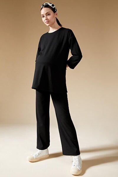 Kadın Siyah İspanyol Paça Örme Hamile Pantolon S5200AZ21AU