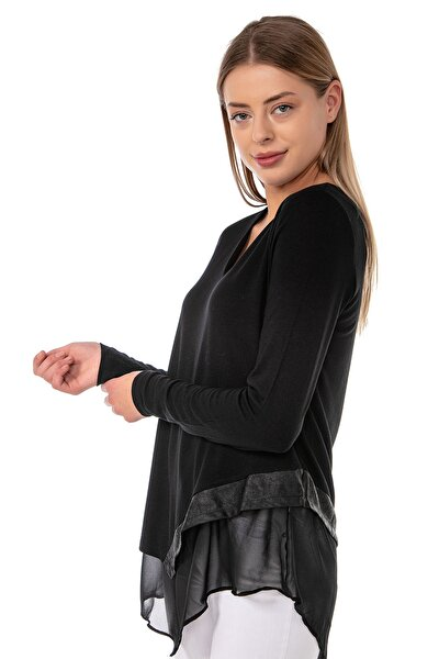 Kadın Siyah Şifon Astarlı Eteği Deri Detaylı Asimetrik Tunik