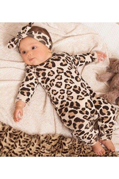 Kız Bebek Bandanalı Leopar Desenli Pamuk Tulum