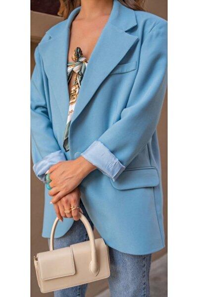 Retro Oversized Mavi Blazer Ceket