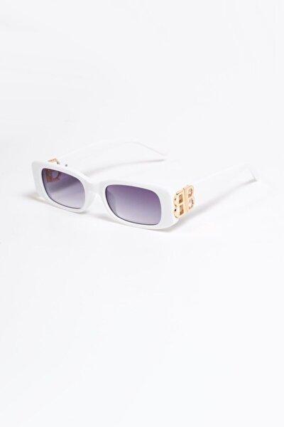 B Metal Dikdörtgen Beyaz Degrade Güneş Gözlüğü