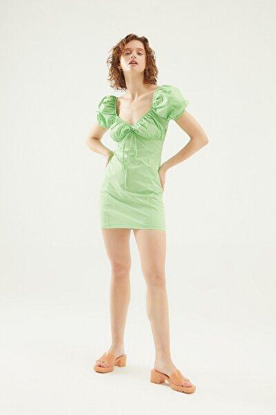 V Yaka Balon Kol Mini Elbise Yeşil