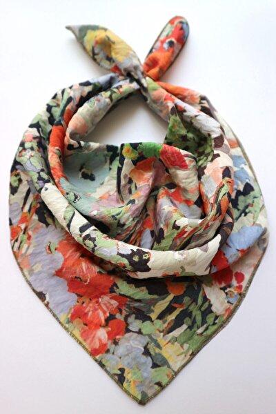 Monet Yağlı Boya Çiçek Desenli Pamuk Ipek Fular
