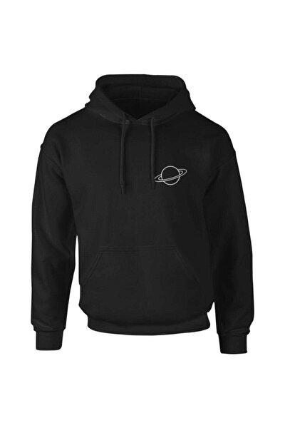 Erkek Siyah Saturn Logo Sweatshirt