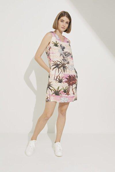 Kadın Emp.Pmb Desenli Kolsuz Mini Keten Elbise