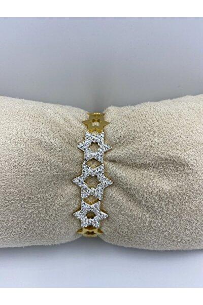 Çelik Taşlı Yıldızlı Gold Bileklik