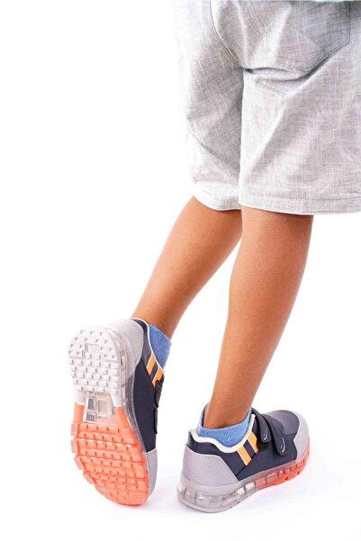 Çocuk Lacivert-turuncu Çift Çırtlı Ortapedik Spor Ayakkabı