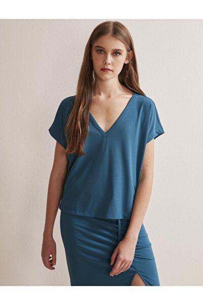 Kadın Lacivert V Yaka Kısa Kollu Örme Bluz