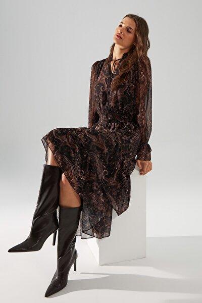 Çok Renkli Volanlı Elbise TWOAW21EL1448