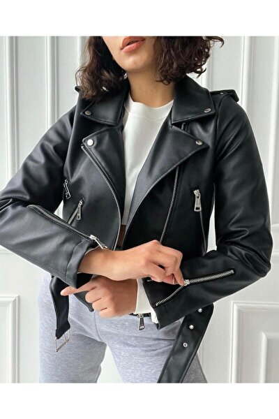 Kadın Siyah Fermuar Detaylı Deri Ceket