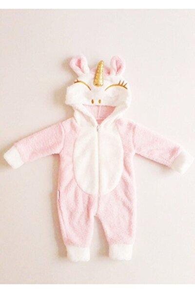 Kız Bebek Pembe Peluş Unicorn Tulum