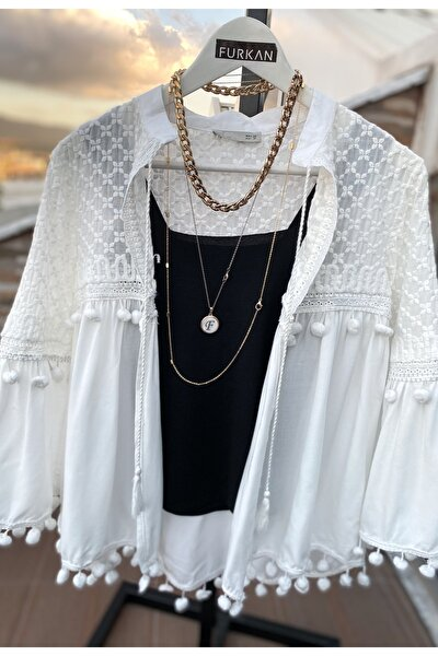 Kadın Beyaz Ponpon Detaylı Nakışlı Ince Ceket
