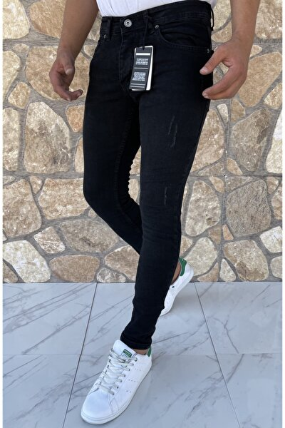 Erkek Jeans Skinny Fit Likralı Siyah Tırnaklı
