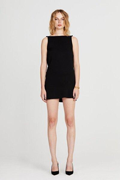 Kadın Siyah Sırtı Dökümlü Kayık Yaka Carrie Elbise