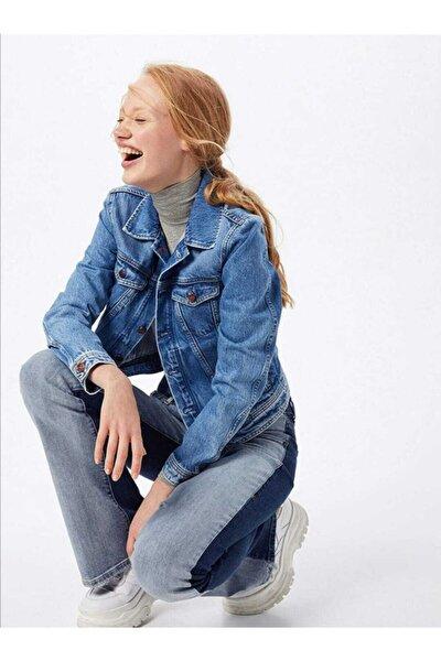Kadın Mavi Kot Ceket