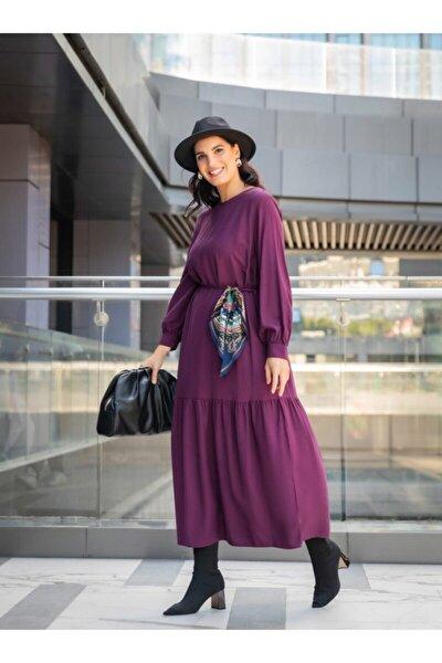 Büyük Beden Viskon Karışımlı Elbise - Mürdüm