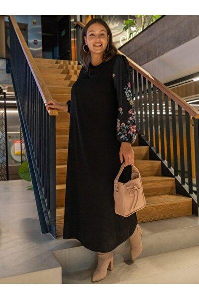 Büyük Beden Çiçek Desenli Elbise - Siyah