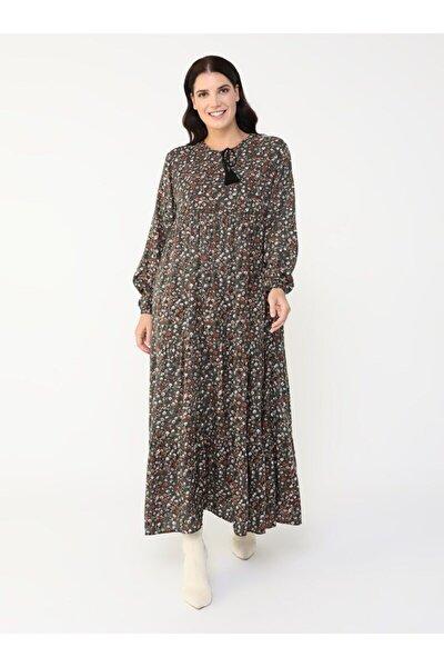 Büyük Beden Doğal Kumaşlı Desenli Elbise - Yağ Yeşili -