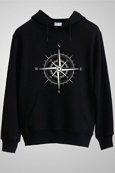 Unisex Siyah Rose Of The Winds Silver Compass