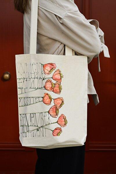 Kanvas Çiçek Baskılı Çanta