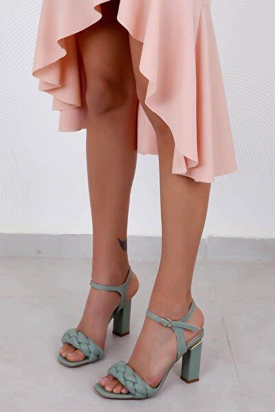 Kadın Topuklu Ayakkabı Mint Yeşili Cilt