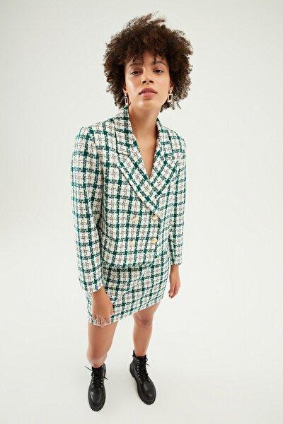 Çizgili Crop Blazer Ceket Yeşil