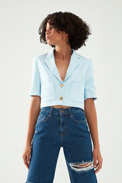 Cep Detaylı Crop Blazer Ceket Bebe Mavi
