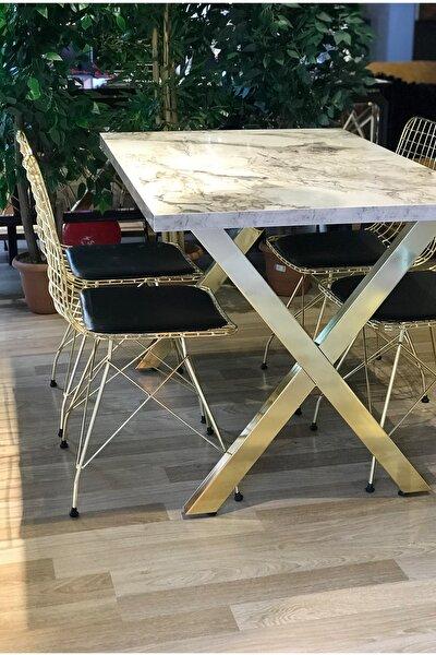 X Ayak Gold Beyaz Mermer + 4 Gold Tel Sandalye