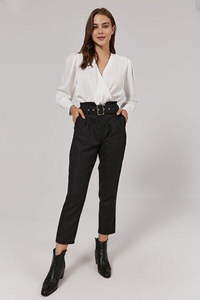 Kadın Kemer Tokası Metal Detaylı Düz Kesim Pantolon Y20w188-3324