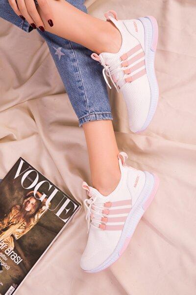 Beyaz-Pudra Kadın Sneaker 15195