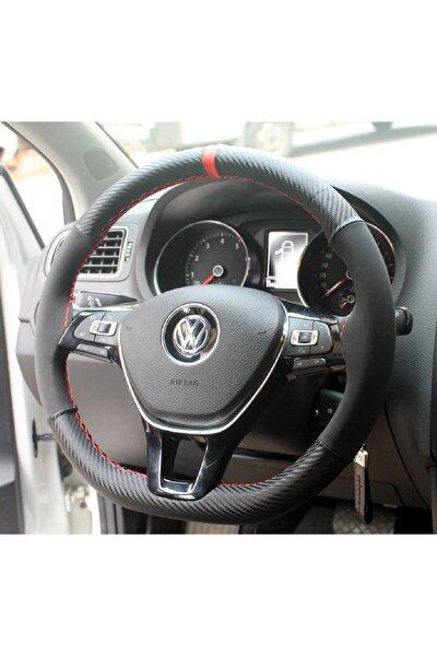 Seat Leon 2013 Sonrası Alcantra Ve Karbon Direksiyon Kılıfı Kırmızı Yüzüklü