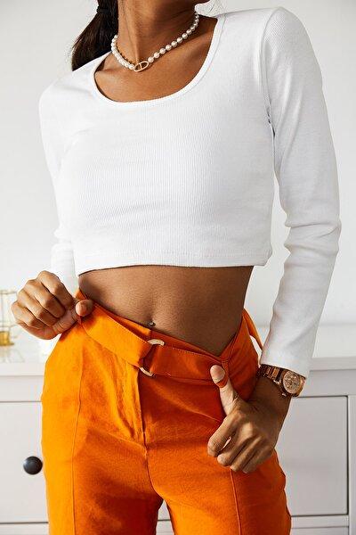 Kadın Kare Yaka Crop Bluz 1KZK2-10837-01